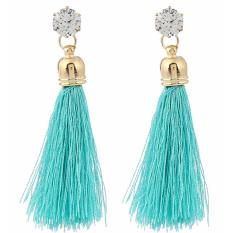 LRC Anting Tusuk Trendy Blue Diamond&tassel Decorated Pure Color Simple Earrings