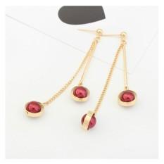 LRC Anting Tusuk Trendy Double Balls Decorated Tassel Design Simple Earrings