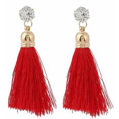 LRC Anting Tusuk Trendy Red Diamond&tassel Decorated Pure Color Simple Earrings