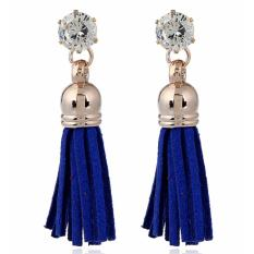 LRC Anting Tusuk Trendy Sapphire Blue Diamond&tassel Decorated Pure Color Simple Earrings
