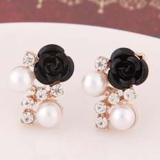 LRC Anting Wanita Sweet Black Diamond&rose Flower Decorated Simple Design Alloy Stud Earrings