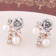 LRC Anting Wanita Sweet Silver Color Diamond&rose Flower Decorated Simple Design Alloy Stud Earrings