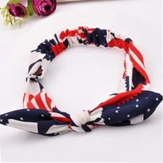 Rp 19.600. LRC Bando Lucky Red Star Pattern Decorated Bowknot Design Fabric Hair band hair hoopIDR19600