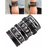 Review Lrc Gelang Tangan 6Pcs Fashion Black Skull Decorated Pure Color Bracelet Lrc