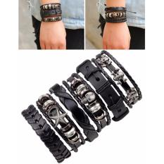 Beli Lrc Gelang Tangan 6Pcs Fashion Black Skull Decorated Pure Color Bracelet Pake Kartu Kredit