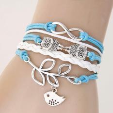 LRC Gelang Tangan Bohemia Light Blue Owl&Bird Decoprated Simple Multilayer Bracelet