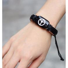 LRC Gelang Tangan Fashion Black Peace Symbol Decorated Bracelet