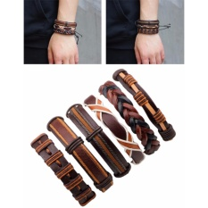 Jual Beli Online Lrc Gelang Tangan Pria 6 Pcs Fashion Brown Color Matching Decorated Simple Bracelet