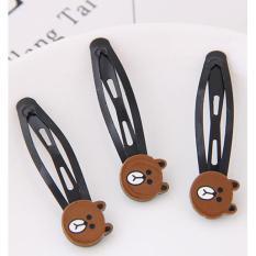 LRC Jepit Rambut Cute Brown Little Bear Shape Decorated Hairpin (3pcs)