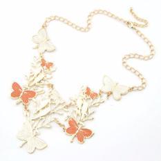LRC Kalung Korean elegant fashion dancing butterfly pendant charm design short necklace