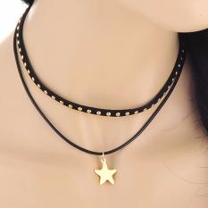 LRC Kalung Wanita Temperament Black Pearl Pendant Decorated Double Layer NecklaceIDR9900. Rp 10.400