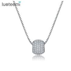 LUOTEEMI Terbaru Elegan Halus Pave CZ Batu Round Ball Pendant Putih Kalung Warna Emas untuk Perhiasan Pesta Pernikahan Wanita- INTL