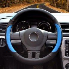 Steering Wheel Covers, Diameter 14 Inch (35.5-36 Cm), Kulit PU, For Musim Penuh, Hitam And Biru-S-Intl