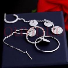Promo Mewah Aaa Cube Zirkon Asimetris Panjang Anting Anting Tassel Anti Alergi S925 Sterling Silver Women Ladies Stud Earrings Ulang Tahun Hadiah Perhiasan Intl Murah