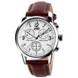 Jual Mewah Merek Skmei Watches Pria Quartz Kulit Digital Pu Kasual Watch Tahan Air 30 M 9070 Coklat Putih Skmei Murah