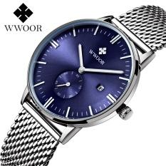 Luxury Brand WWOOR Mens Watches Waterproof Auto Date Men Silver Color Stainless Steel Mesh Band Wrist Quartz Watch Casual Wristwatches Online 8808 - intl
