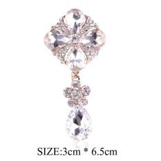 Mewah Crystal Bunga Bros Korsase Pernikahan Broach Bouquet Jilbab Pin Topi Scarf Kerah Pakaian Klip Broches Party Women Dress Jewelry -Intl