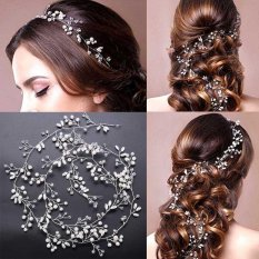 Harga Mewah Crystal Handmade Long Bridal Headband Headpiece Pearl Hair Pernikahan Rambut Aksesoris Bride Head Chain Internasional Terbaru