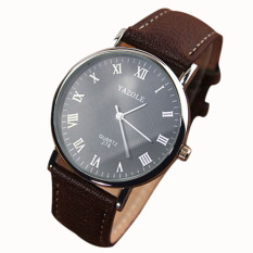 Jual Luxury Fashion Faux Leather Mens Quartz Analog Watch Watches Brown Antik