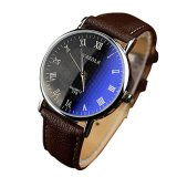 Spesifikasi Luxury Fashion Faux Leather Mens Quartz Analog Watch Watches Baru Brown Lengkap