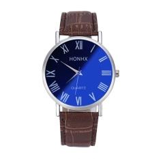Jual Luxury Fashion Men Leather Quartz Analog Wrist Watch Blu Ray Mirror Bw Intl Ori
