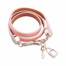 Beli Luxury Gold Plated Genuine Pink Leather Bracelet Three Circle Kredit Banten