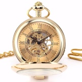 Review Toko Luxury Golden Round Transparent Case Hunter Skeleton Mechanical Mens Fobs Pendant Chain Clip Pocket Watch Jewelry Clock Wpk129 Jam Tangan Pria Dan Wanita Intl Online