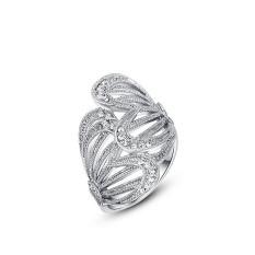 Mewah Lady Butterfly Wing Platinum Berlapis Diamond Hadiah Ulang Tahun Perhiasan Cincin (Platinum Warna)