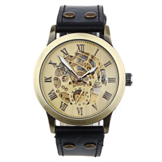 Jual Mewah Man Perunggu Leather Self Winding Automatic Mechanical Wrist Watch Perunggu Landfox