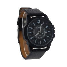 Harga Luxury Men S Analog Sport Steel Case Quartz Tanggal Leather Wrist Watch Hitam Termahal