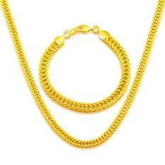 Set Kalung Gelang Mewah For Pria 18 Karat Asli Berlapis Emas Model Baru 55 Cm Set Perhiasan Pria Kalung Gelang Rantai