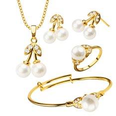 Mutiara Kalung Kristal Mewah/anting-anting/gelang/cincin Trendi 18 Karat Berlapis Emas Set Perhiasan Hadiah For Hanya Gadis Anak Memakai S20171
