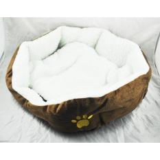 Mewah Unik Hangat Indoor Lembut Pet Dog Cat Bed + Cushion Dog Puppy Sofa House Bed With Tikar Persediaan L Brown