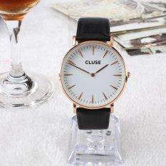 Mewah Wanita Pria Tahan Air PU Leather Analog QUARTZ Dress Wrist Watch Gift-Intl