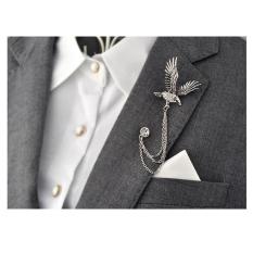 Beli Lyball Pria Perapi Kemeja Kristal Berlian Imitasi Korsase Lapel Pin Eagle Bros Rantai Silver Terbaru