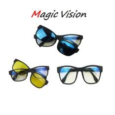 Magic Vision Kacamata Multifungsi Anti Silau dan Radiasi 3 Lensa untuk Siang Dan Malam