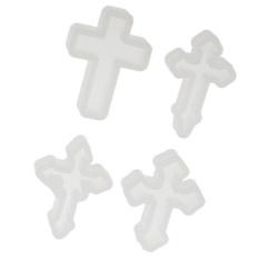 MagiDeal 4 Pieces Cross Shape Silicone Pendant Cetakan DIY For Resin Pembuatan Perhiasan