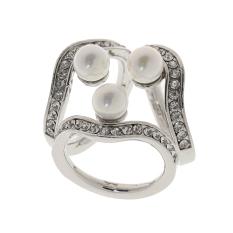 MagiDeal Fashion Silver Rhinestone Trio Ring Silk Scarf Buckle Clip Slide Jewelry - intl