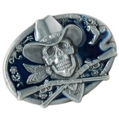 Spesifikasi Magideal Gothic Skeleton Ghost Head Halloween Hip Hop Cowboy Biker Belt Buckle Blue Intl Terbaru