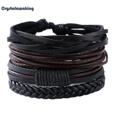 Man European Hot Retro Multilevel Cowhide Handmade Woven Bracelet - intl