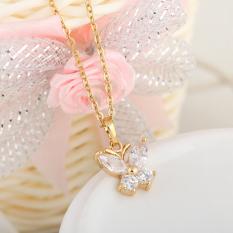 Kalung Perhiasan Emas Mengkilap 18KB With Liontin Kristal Bentuk These Butterflies