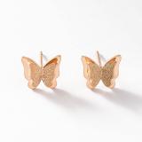 Model Manis Naik Berlapis Emas Temperamen Kupu Kupu Anting Anting Perhiasan Telinga Terbaru