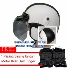 Beli Marcase Helm Klasik Dewasa Remaja Bogo Original Sarung Tangan Putih Hitam Yang Bagus