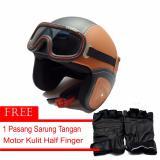 Miliki Segera Marcase Helm Klasik Dewasa Remaja Kaca Mata Mocca Hitam