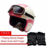 Spesifikasi Marcase Helm Klasik Dewasa Remaja Kaca Mata Putih Pink Terbaru
