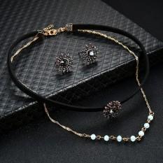 Marionshop Women Charm Leather Crystal Rhinestone Earrings Necklace Jewelry Set - intl