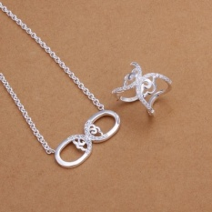 Perkawinan Perhiasan Set Online Shopping Women Romantis Tembaga Partai Bridal Perhiasan Set Kalung Rings Round Perak Berlapis-Internasional