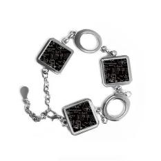 Matrix Rumus Matematika Ilmu Kalkulus-sosok Bentuk Persegi Gelang Logam Cinta Hadiah Perhiasan dengan Dekorasi Rantai-Intl