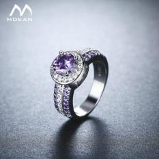 MDEAN Ungu Batu Halo RNG Round Putih Emas Warna Cincin untuk Women Pernikahan Perhiasan Baru Fashion Aksesoris Bague MSR897- INTL