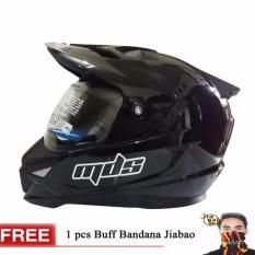 MDS Helm Full Face Motor Cross MDS Super Pro Supermoto Double Visor Yamaha Ninja Honda Black Met Glossy GRATIs BUFF BANDANA RANDOM - Hitam